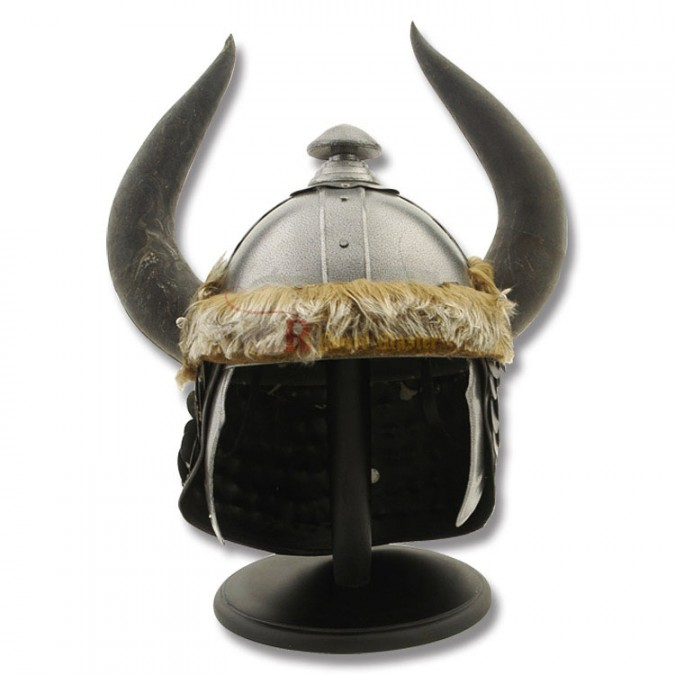 Viking Barbarian Helmet With Horns Arming Cap and Stand ...