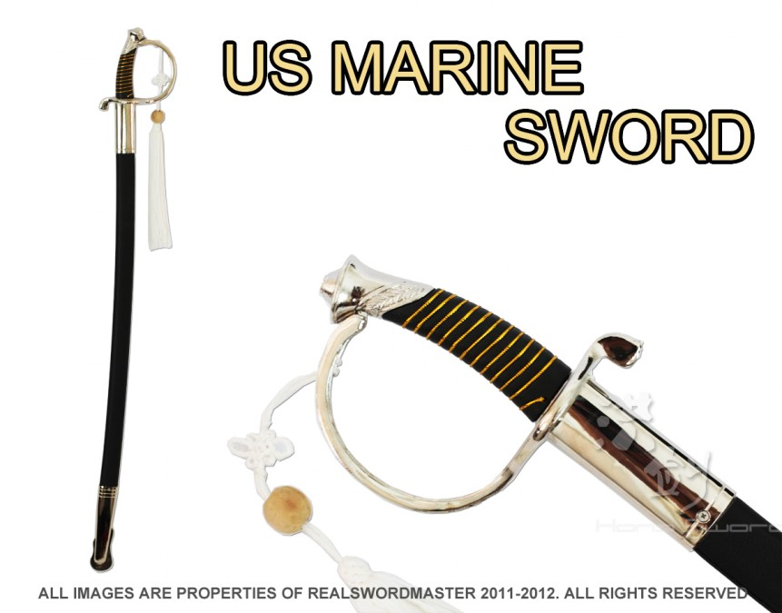 """36"""" US USMC Marine Corps Dress Uniform Officer NCO Sword Chrome Brand New"""